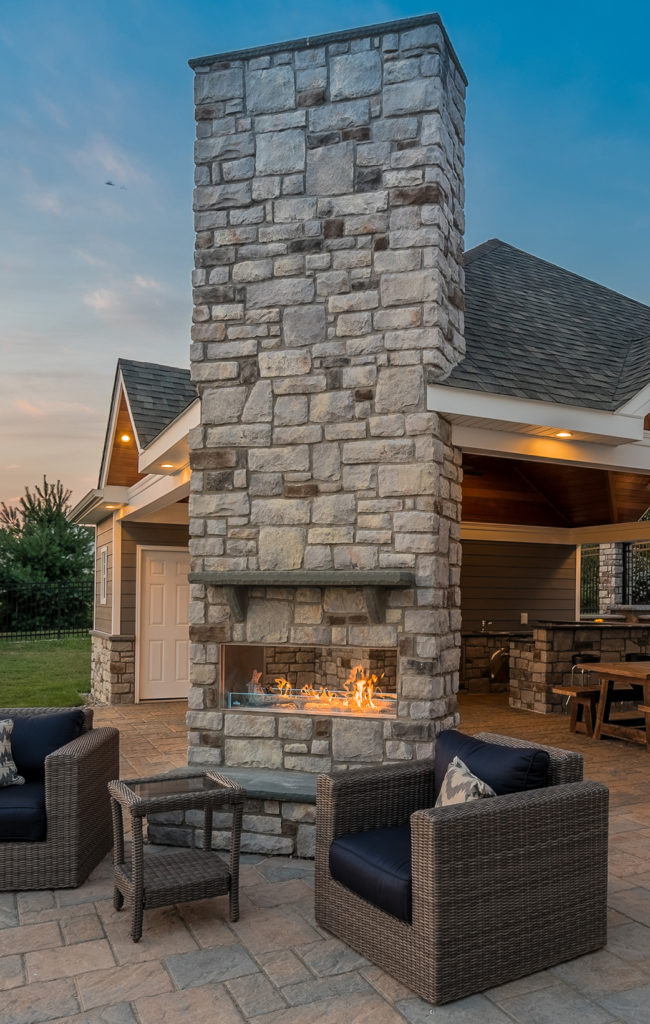 very tall outdoor fireplace