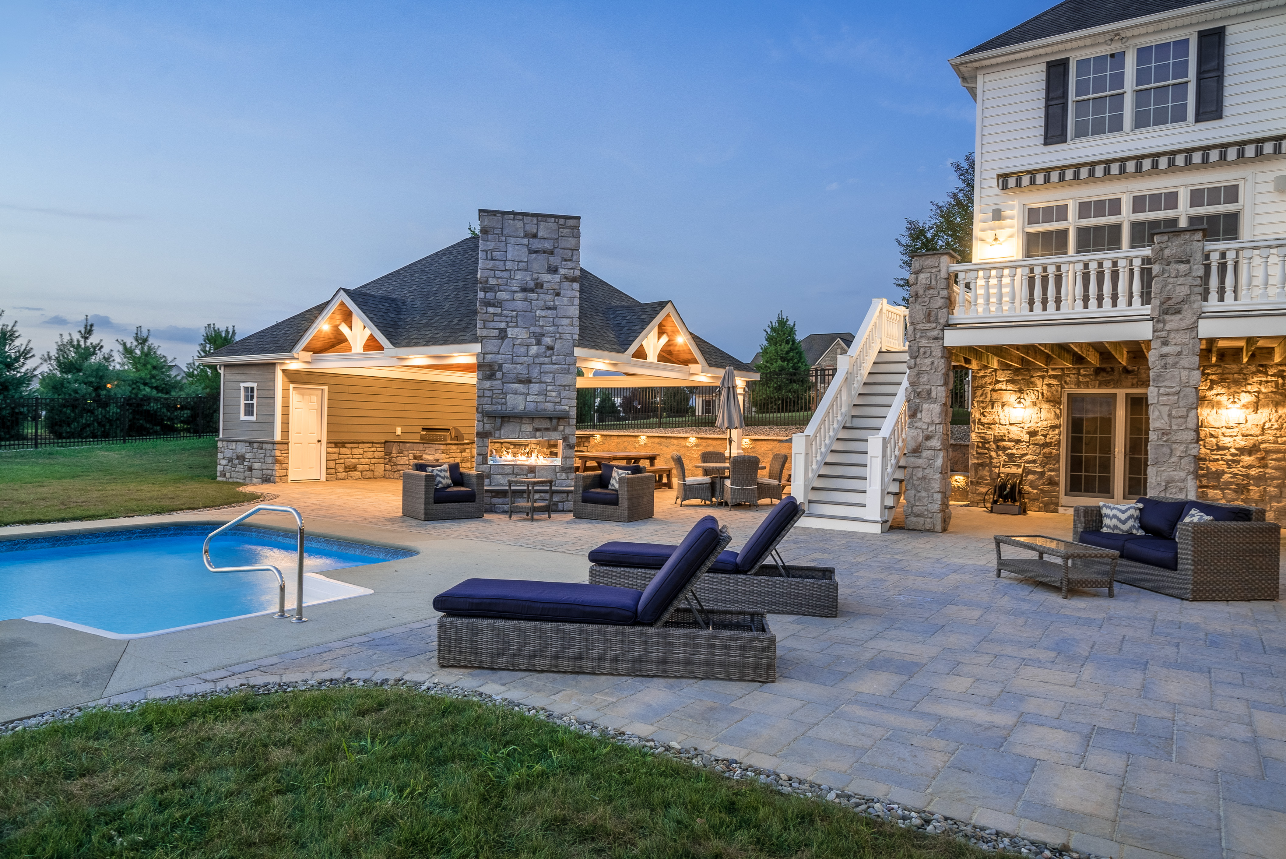Fireplace by pool