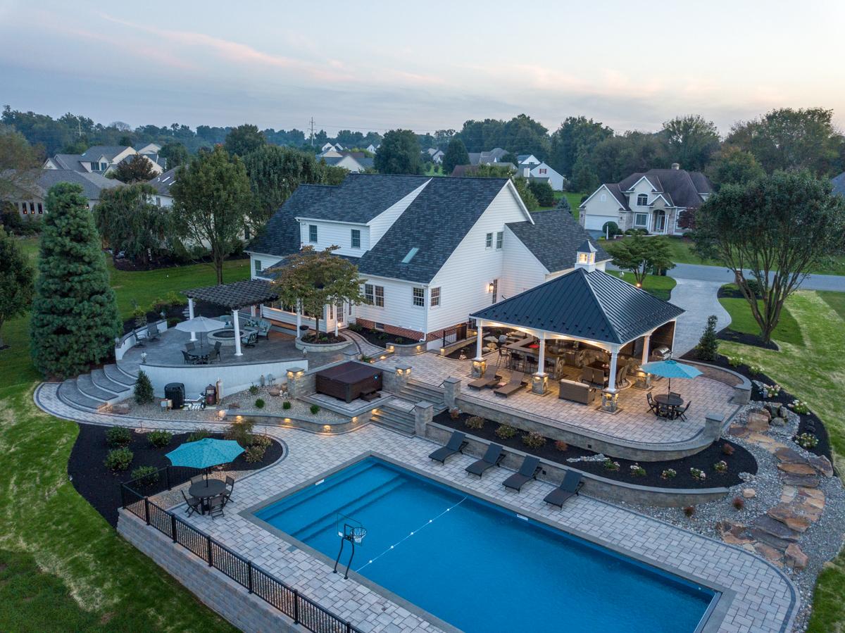Aerial view of backyard pool
