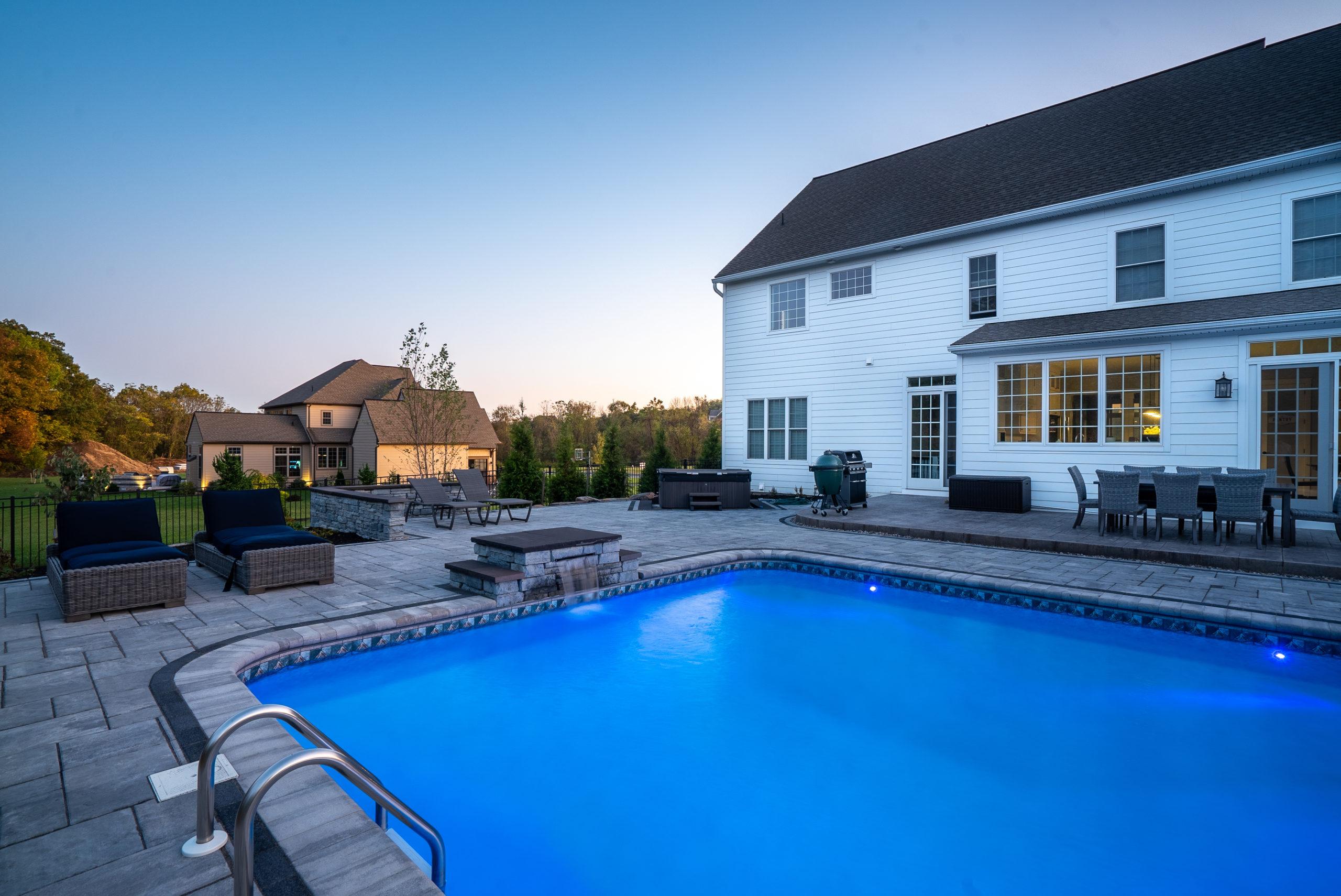 Inground pool in backyard