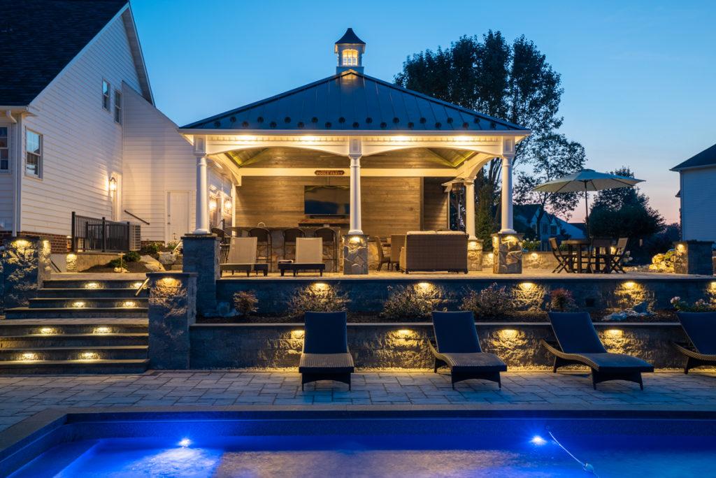 lit pool at night