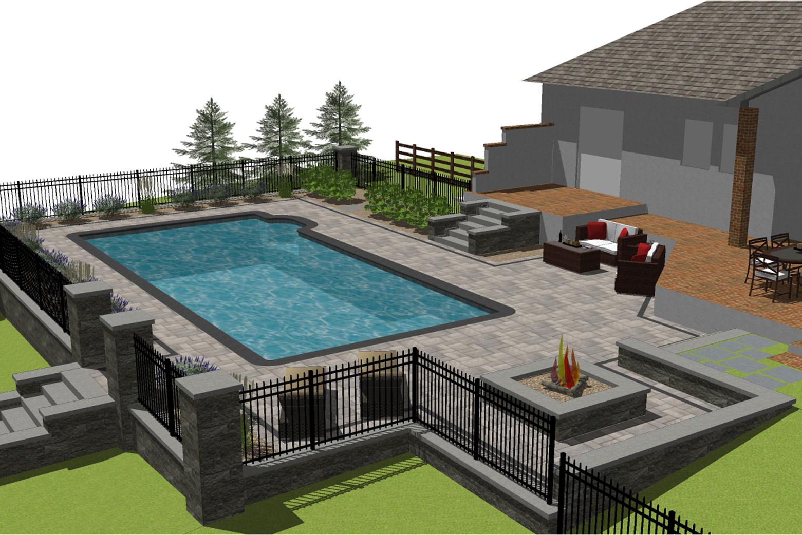 3d rendering of hardscape